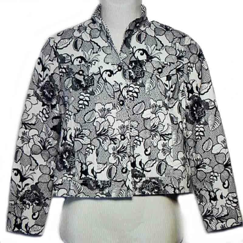 St. John Sport Jacket Black White Floral Women's Size P Petite
