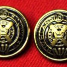 Two Mens Scottish Highland Blazer Buttons Gold Antique Brass Metal Alloy Shank