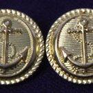 Two JG Hook Nautical Anchor Blazer Buttons Gold Hook Shank