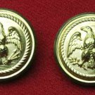 Two Mens Waterbury American Eagle Blazer Buttons Gold Brass