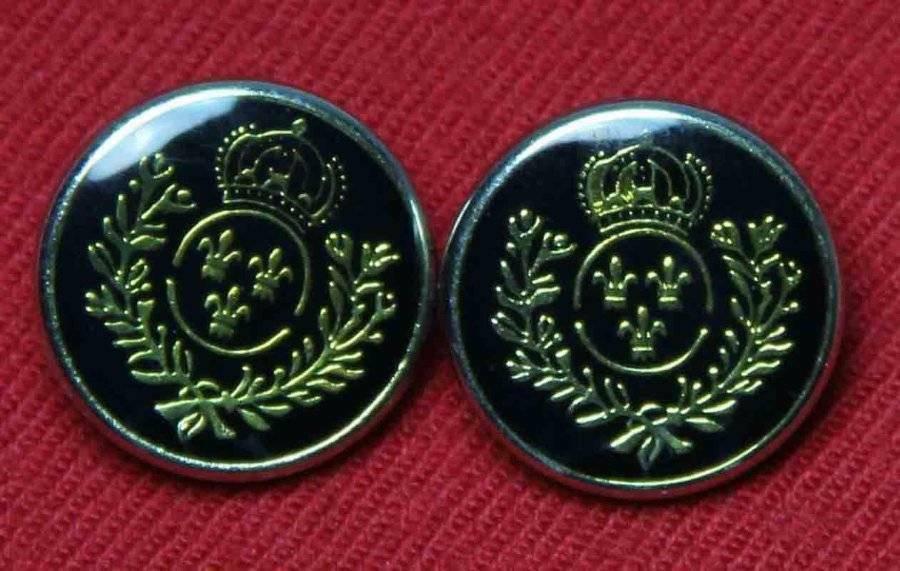 Two Fleur de Lis Blazer Buttons Gold Black Crown Laurel Plastic