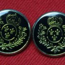 Two Fleur de Lis Blazer Buttons Gold Black Crown Laurel Plastic