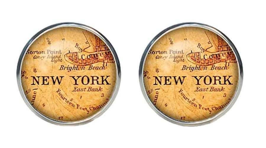 Antique City Map Cufflinks New York Silver Zinc Alloy Men's