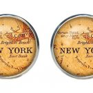 Antique City Map Cufflinks New York Silver Zinc Alloy Men's