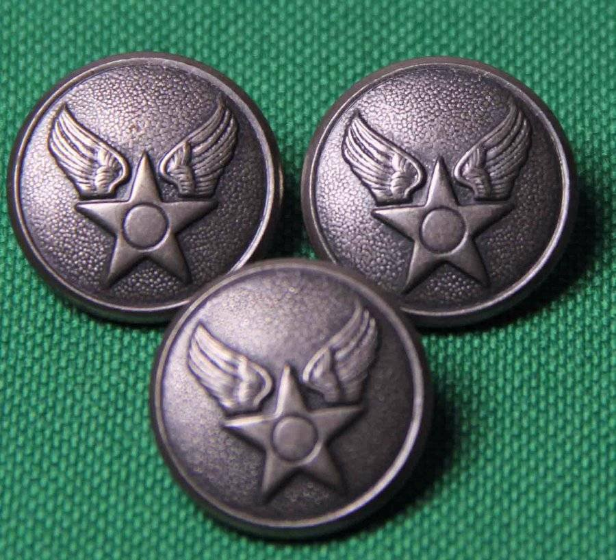 Three Mens Waterbury USA Military Blazer Buttons Pewter Gray