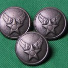 Three Mens Waterbury USA Military Blazer Buttons Pewter Gray