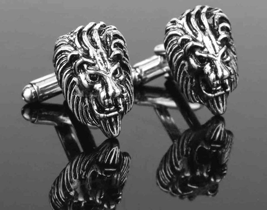 Lion Head Cufflinks Gray Silver Zinc Alloy Men's