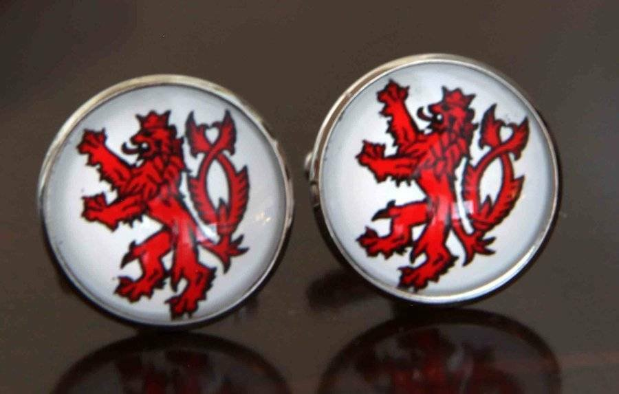 Gascoigne English Celtic Lion Cufflinks Red White Silver Zinc Alloy