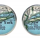 Men's Old American City Map Cufflinks New York Silver Zinc Alloy