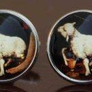 Gascoigne Sacrificial Lamb Cufflinks Silver Zinc Alloy Religious Art Men's