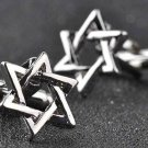 Jewish Star of David Cufflinks Hanukkah Silver Zinc Alloy Men's