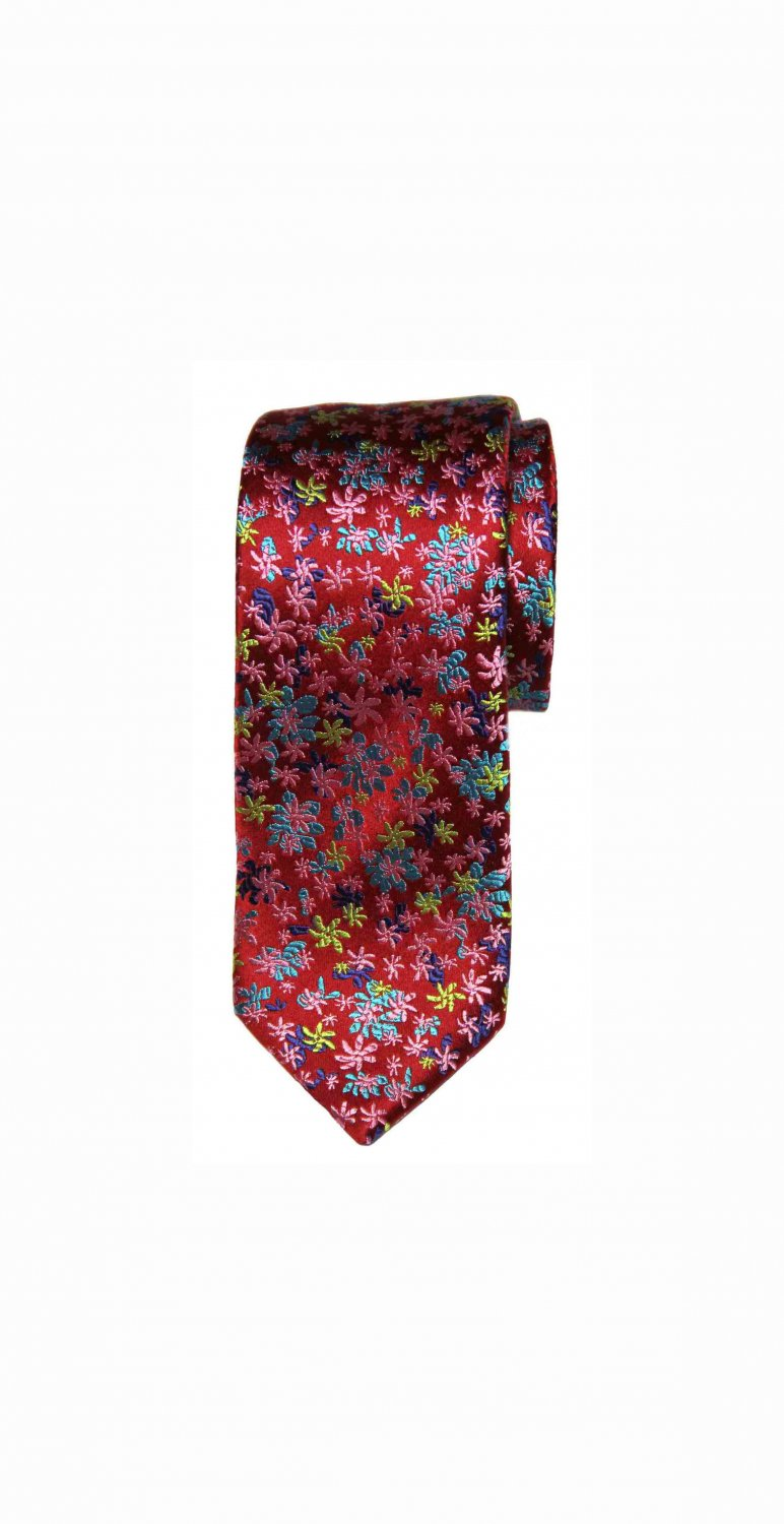 Tresanti Reale Tie Silk Red Green Blue Floral Men's