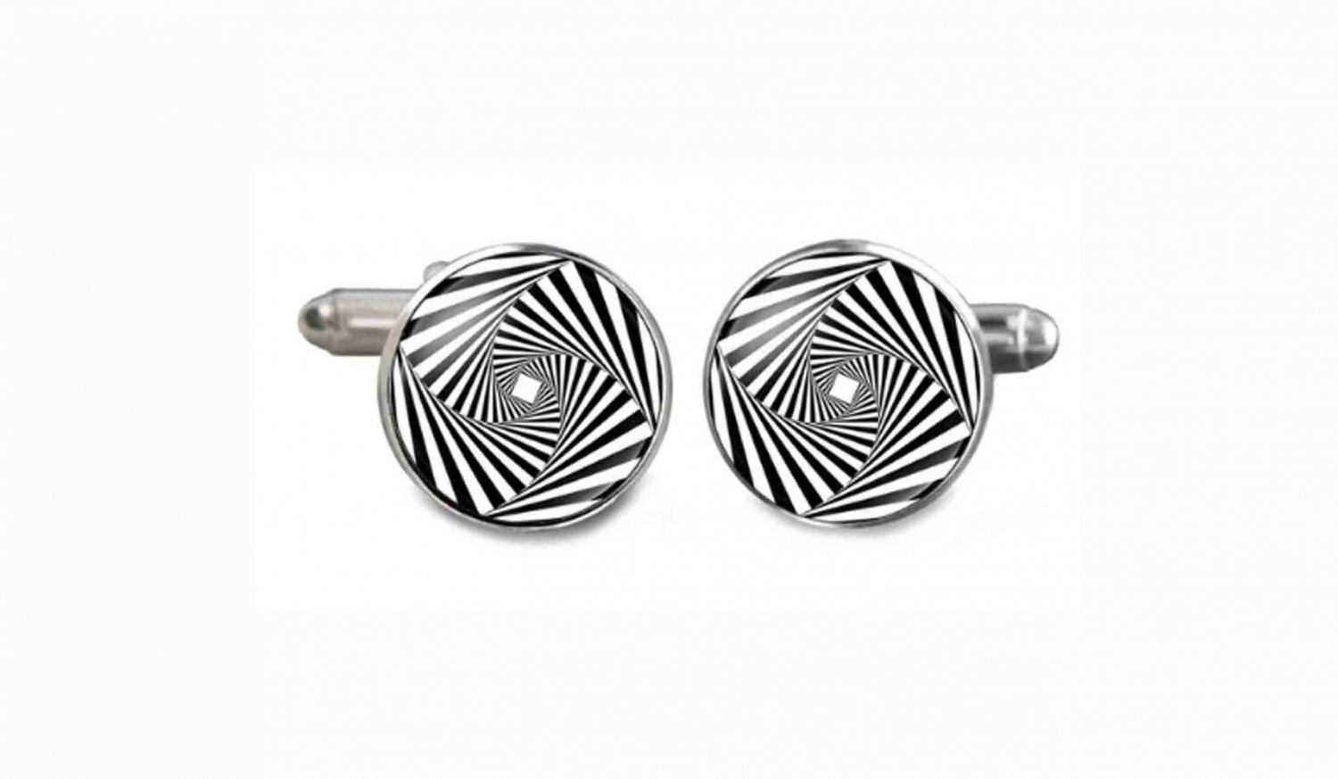 Gascoigne Cufflinks Optical Illusion Black White Silver Men's