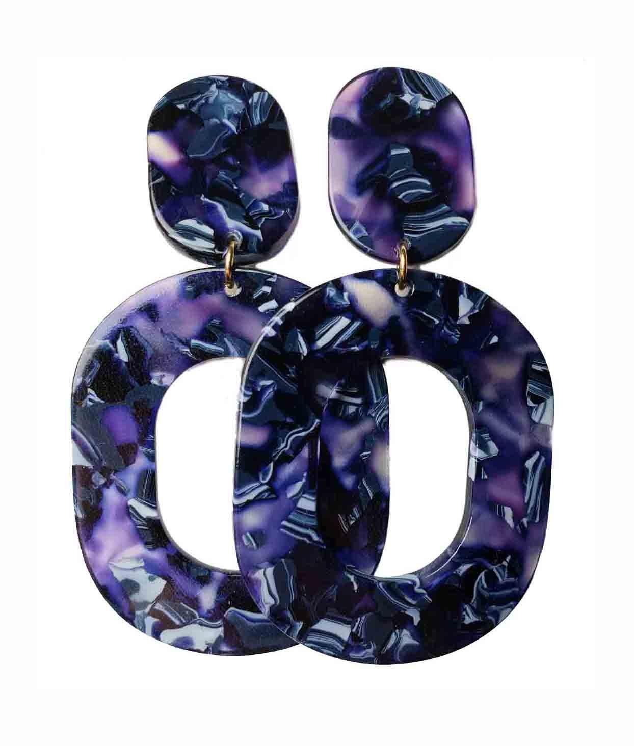 Purple and Gray Acrylic Dangle Earrings Women's