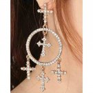 Crystal Dangle Boho 5 Crosses Baroque Earrings Women's