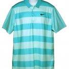 Nike Golf Shirt Green Striped Dri-Fit Standard Fit Men's XL