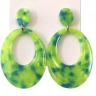 Acrylic Dangle Earrings Green Blue Abstract Women's