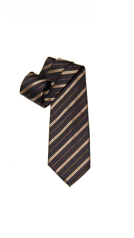 Gianni Versace Tie Brown Yellow Pink Striped Italian Silk Men's Long