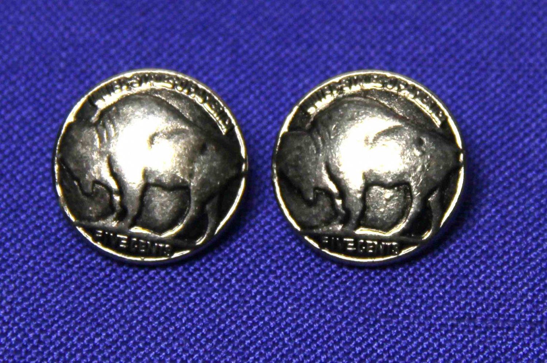 Two Men's Vintage Buffalo Nickel Pattern Blazer Buttons Silver Gray Shank Men's 1980s