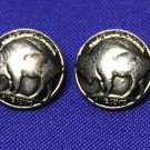 Two Men's Vintage Buffalo Nickel Pattern Blazer Buttons Silver Gray Shank Men's 1980s