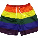 KYKU Rainbow Stripe Shorts Gay Pride LGBT Men's Slim Medium