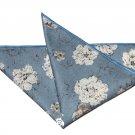 Gascoigne Pocket Square Cotton Floral Blue White Gray 9 X 9 Men's