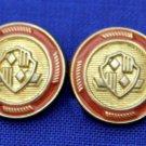 Two Vintage Emperor Blazer Buttons Orange Gold Shield Metal Shank Unisex