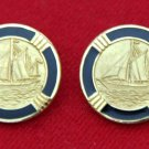 London Badge & Blazer Co Blazer Buttons Black Gold Shank Sailboat Brass Men's