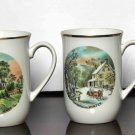 4 Vintage Currier and Ives Tea Cups or Mugs Four Seasons