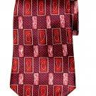 Vintage Zylos Tie Red Italian Silk Paisley Geometric Men's