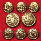 Vintage Haggar Blazer Buttons Set H Monogram Gold Brass Shank Men's
