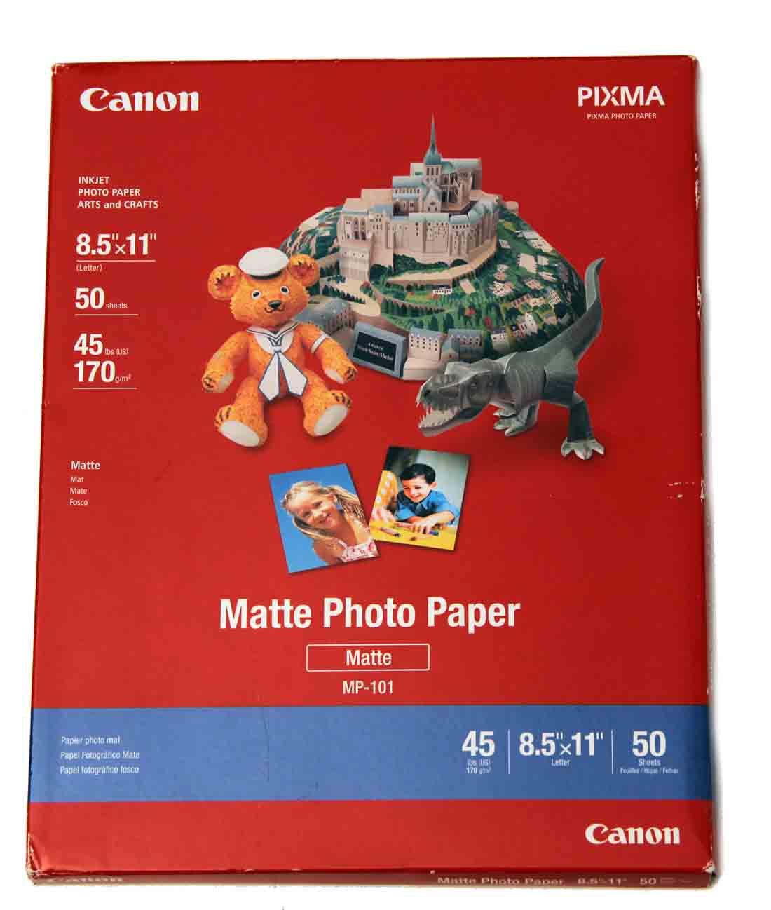 "Canon PIXMA InkJet Photo Paper 8.5"" X 11 Matte 50 Sheets MP-101"