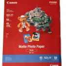 "Canon PIXMA InkJet Photo Paper 8.5"" X 11 Matte 50 Sheets MP-101"