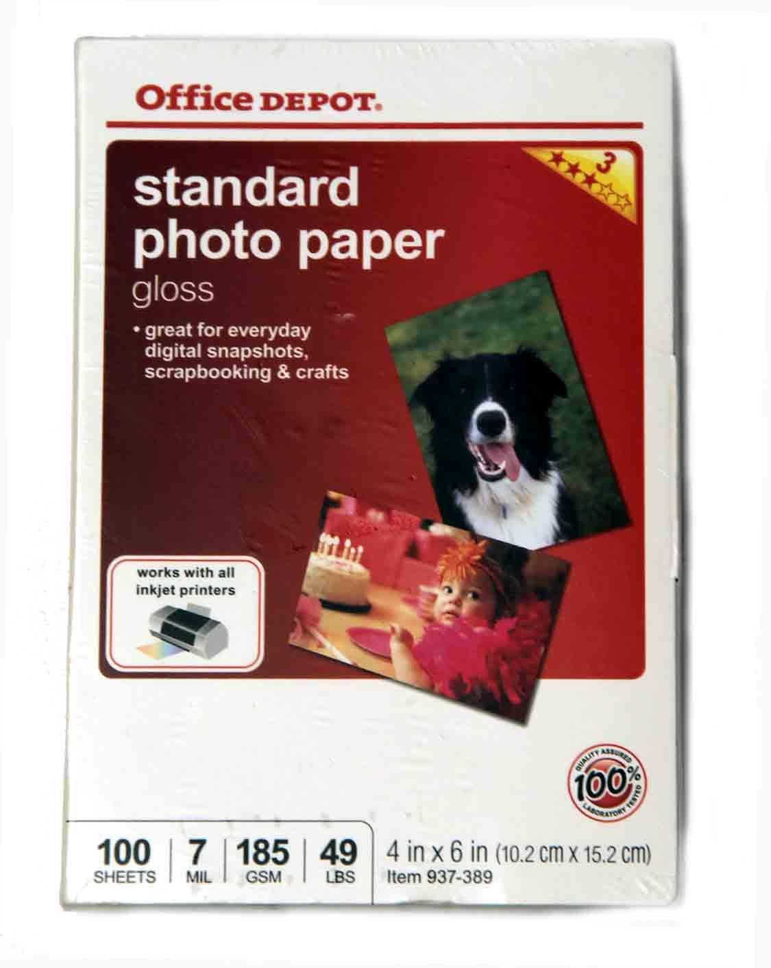 Office Depot Standard Photo Paper Gloass 4X6 Inkjet 100 Sheets