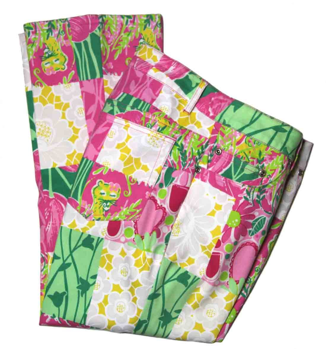 Lilly Pulitzer Pants Cropped Pink White Green Yellow Floral Hearts Cats Women's Size 4