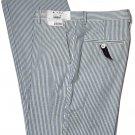 Tommy Hilfiger Blue & White Seersucker Pants Cotton Flat Front Men's 34 X 30