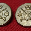 Two Mens Vintage 1960s Excelsior Blazer Buttons Gold Shank Swords Shield Crown