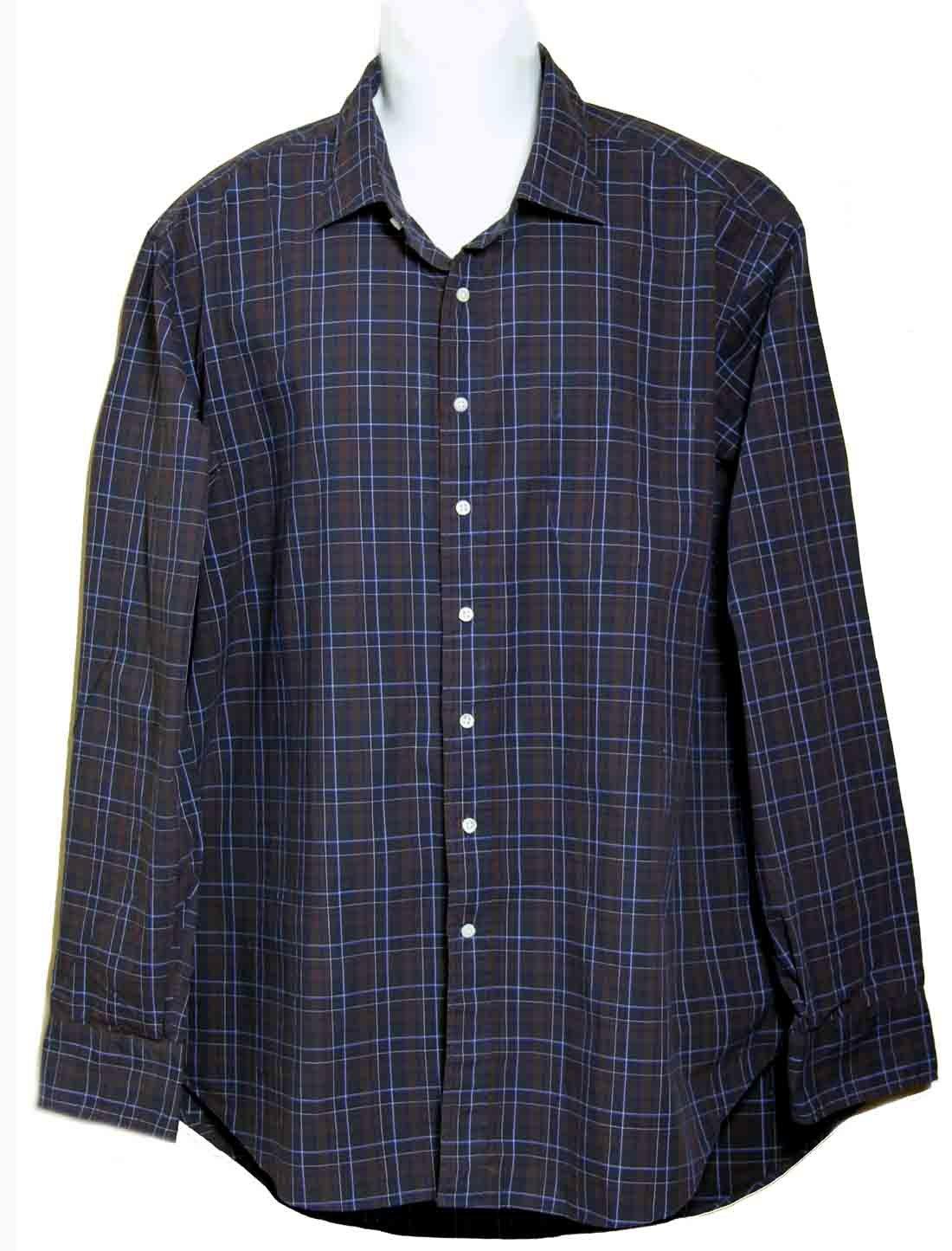 Sid Mashburn Shirt Plaid Brown Black Cotton Men's Size 2XL