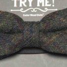 Wool Tweed Bow Tie Green Pre-Tied Adjustable Cedar Wood State Men's