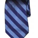 Vintage Lands' End Repp Stripe Tie Blue Navy Silk Men's