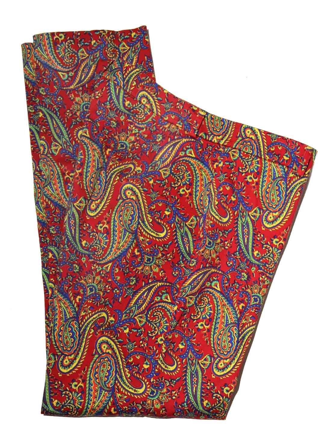 Ralph Lauren Paisley Pants Red Green Blue Yellow Orange Women's Size 8