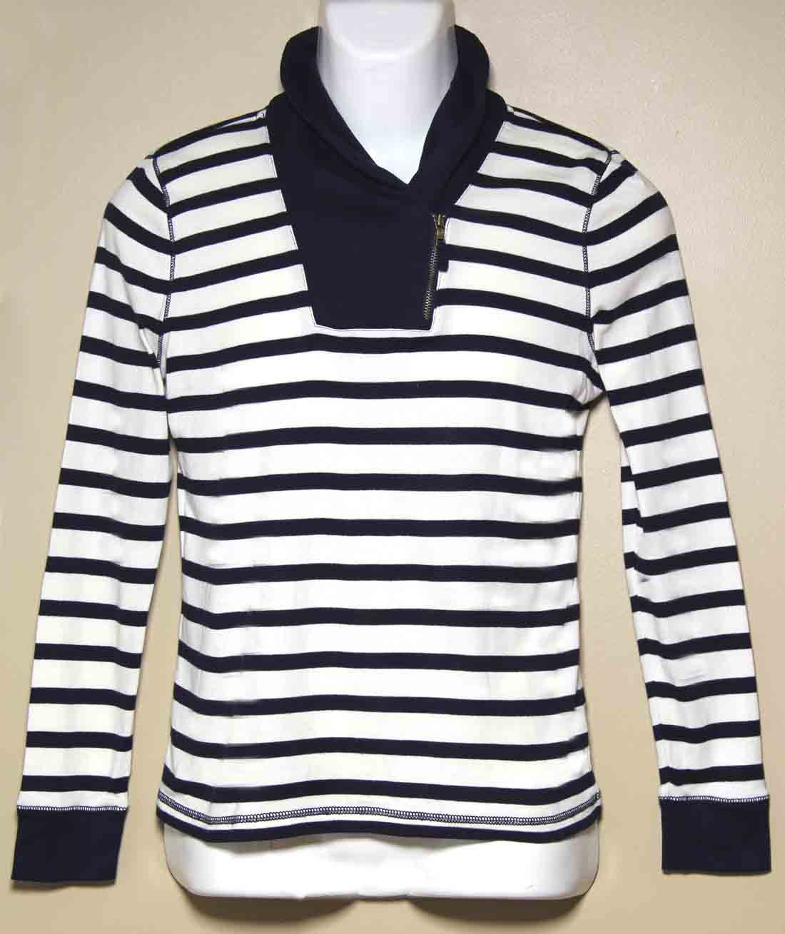 Ralph Lauren Jeans Co Nautical Striped Shirt Navy Blue White Women's Size Medium