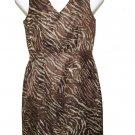 Banana Republic Dress LInen Rayon Animal Pattern Brown Tan Women's Size 6