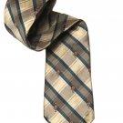 Vintage Briar Tie Linen Silk Plaid Polo Players 1980s Tan Blue Men's