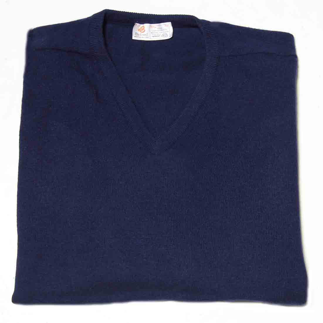 Vintage Byford Lambswool Sweater Navy Blue V-Neck Made in England Men's size 42 or Large