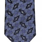 Ike Behar Tie Silk Navy Blue Gray White Geometric Men's