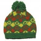 Nordbron Handcrafted Wool Beanie Hat Green Yellow Orange