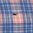 Vineyard Vines Linen Shirt Blue Pink White Plaid Button-Down Men's Size Medium