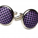 Gascoigne Cufflinks Purple Silver Metal Alloy and Fabric Men's