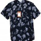 Ben Sherman Camp Style Shirt Navy Blue White Floral Men's Slim Fit Medium